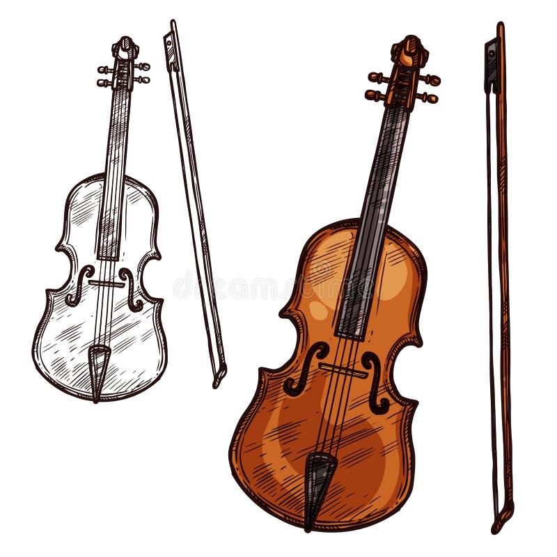 Vector Sketch Violin Contrabass Music Instrument Stock Vector