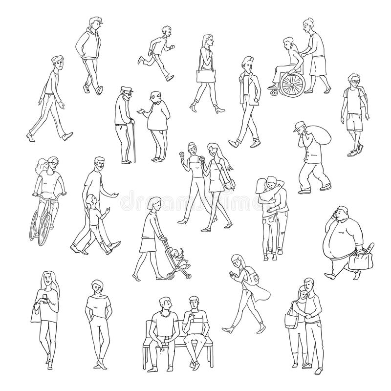 Vector sketch walking people urban residents. Children and adults characters in various situations on street city. Woman vector illustration