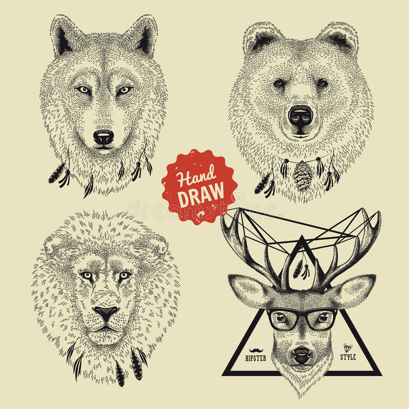Vector sketch of wild animal heads bear, wolf, lion, deer in hipster style royalty free illustration