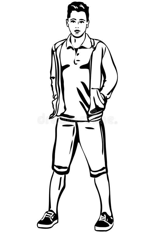 Vector sketch of a young man in short pants stock illustration