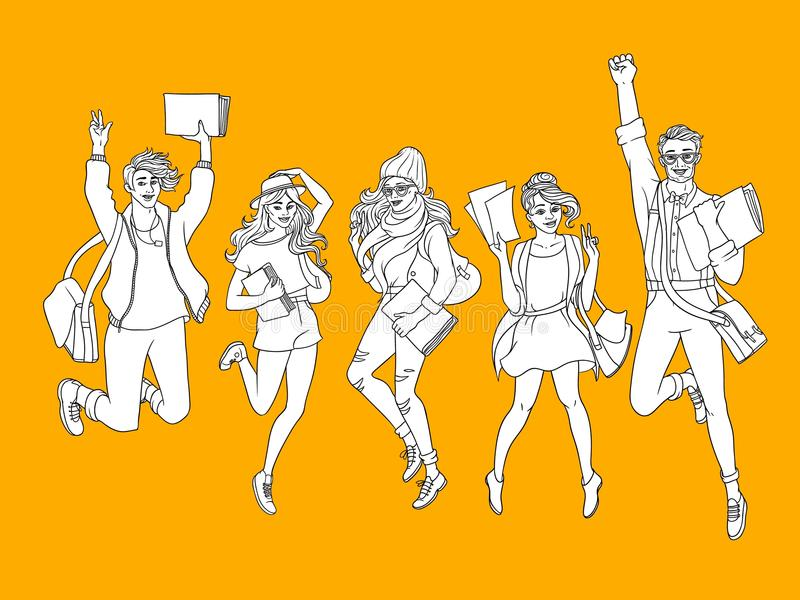 Vector sketch young teen students jumping set. Girls, boy in modern casual outfit, dress cap jeans, holding book backpack having fun. Female, male university vector illustration