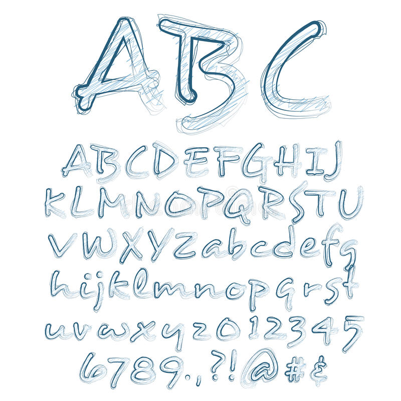 Vector Sketched Alphabet stock illustration