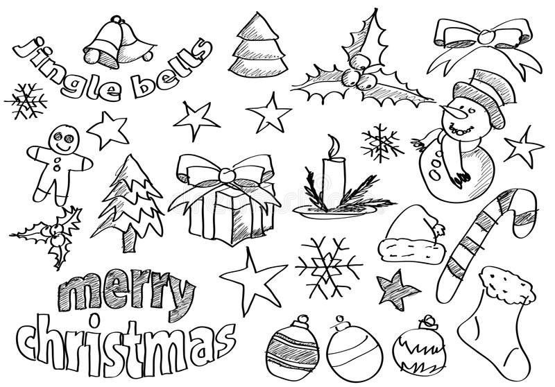 Download Vector Sketched Christmas Icons Stock Photo - Image: 27616960