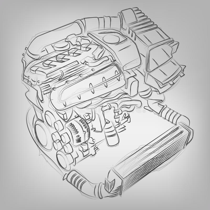 Vector sketched engine stock illustration
