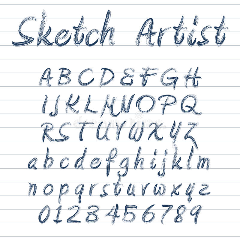 Vector sketched font royalty free illustration