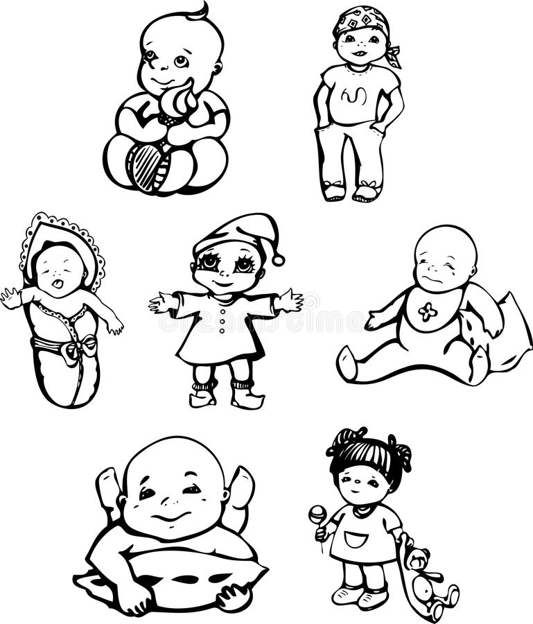 Sketches of babies. Vector sketches of babies. Set of black and white illustrations stock illustration