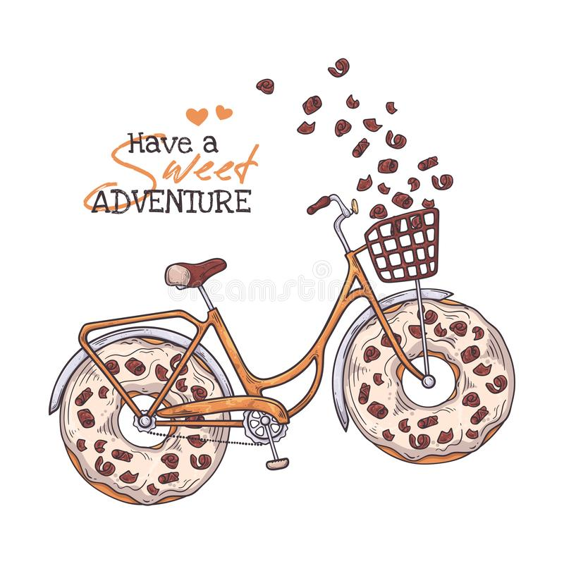 Vector sketching illustrations. Bicycle with donuts instead of wheels. Vector sketching illustrations. Bicycle in vintage style with donuts instead of wheels royalty free illustration