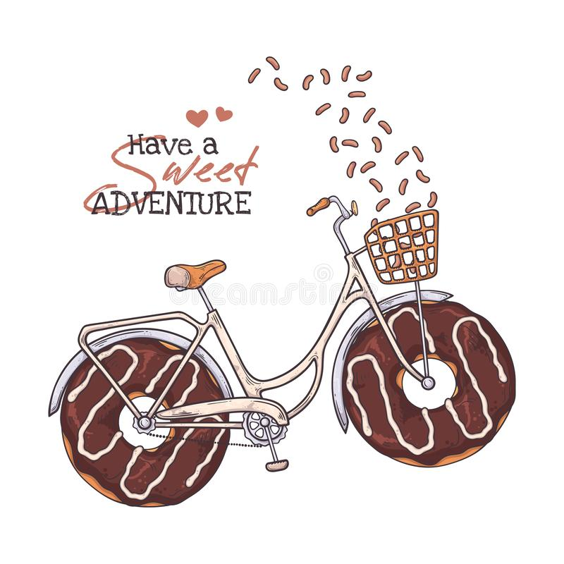 Vector sketching illustrations. Bicycle with donuts instead of wheels. Vector sketching illustrations. Bicycle in vintage style with donuts instead of wheels stock illustration