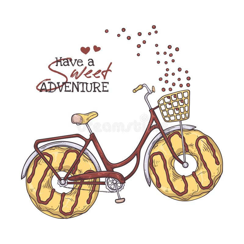 Vector sketching illustrations. Bicycle with donuts instead of wheels. Vector sketching illustrations. Bicycle in vintage style with donuts instead of wheels vector illustration