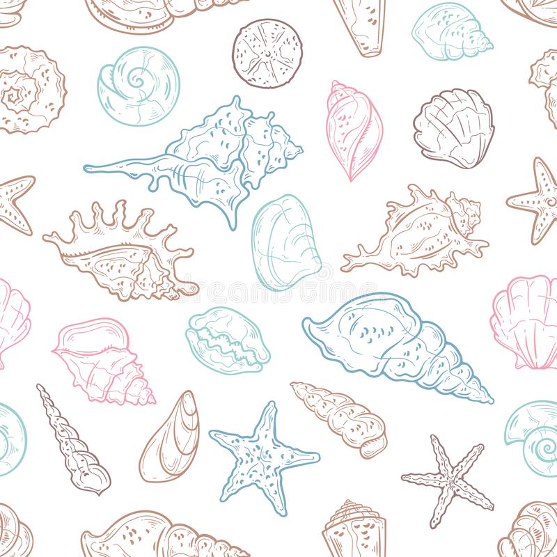Vector sketching illustrations. Different types of seashells. Isolated objects for your design. Each object can be changed and moved royalty free illustration
