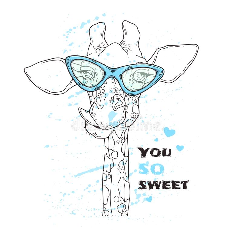 Vector sketching illustrations. Portrait of funny giraffe in custom glasses. Isolated objects for your design. Each object can be changed and moved stock illustration