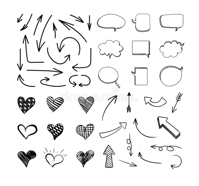 Vector Sketchy Design Elements Set Isolated on White Background, Black Lines. Vector Sketchy Design Elements Set Isolated on White Background, Black Lines, Hand vector illustration