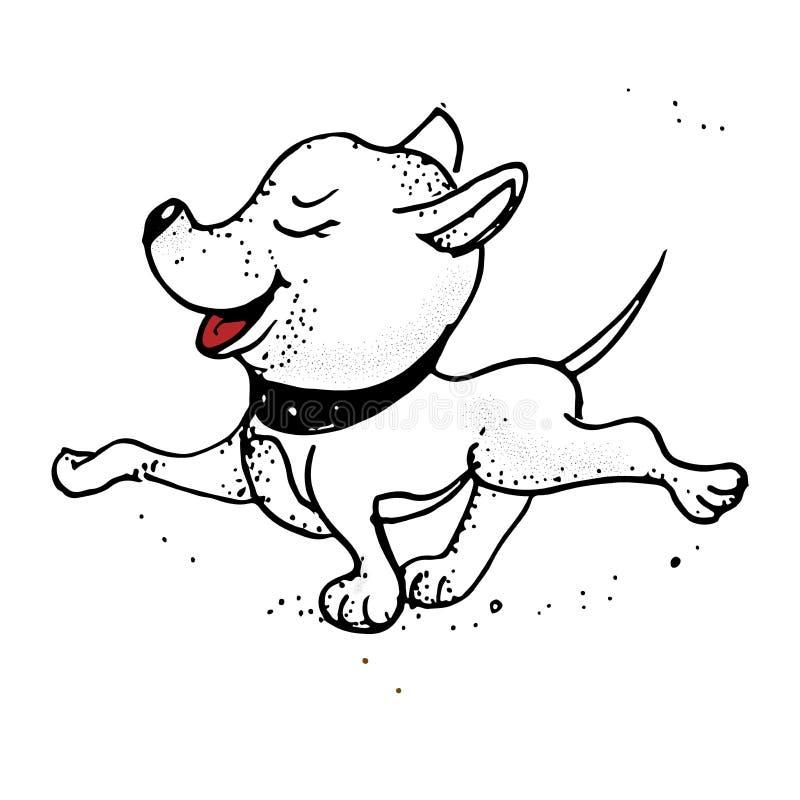 Vector Skizzen mit glücklichem ein Karikaturhund und warten, um spazierenzugehen stock abbildung