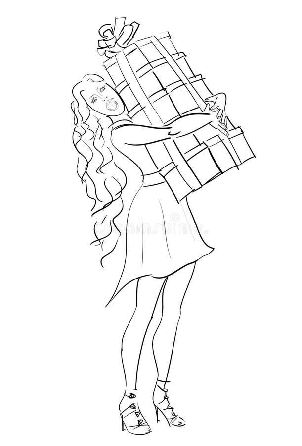Download Vector Skizzenfrau Mit Stapel Der Geschenkbox Im Feiertags26. Dezember Vektor Abbildung - Illustration: 104791382