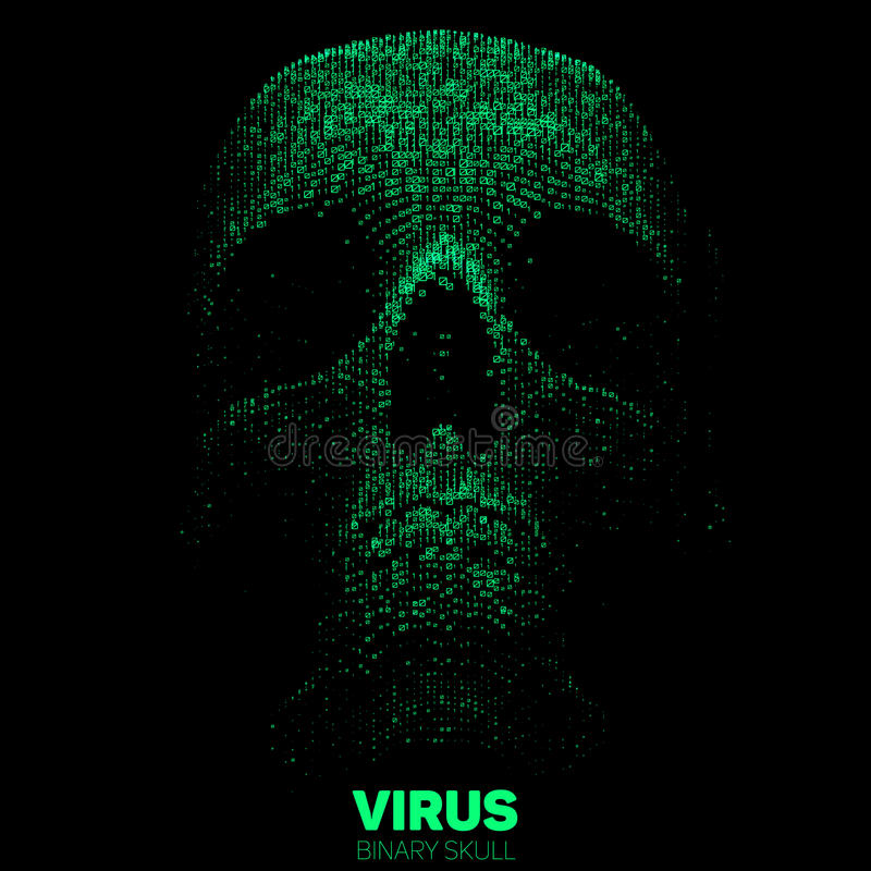 Vector skull constructed with green binary code. Internet security concept illustration. Virus or malware abstract. Visualization. Hacking big data image royalty free illustration