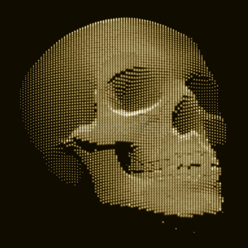 Vector skull constructed with random numbers. Internet security concept illustration. Virus or malware abstract. Visualization. Hacking big data image vector illustration