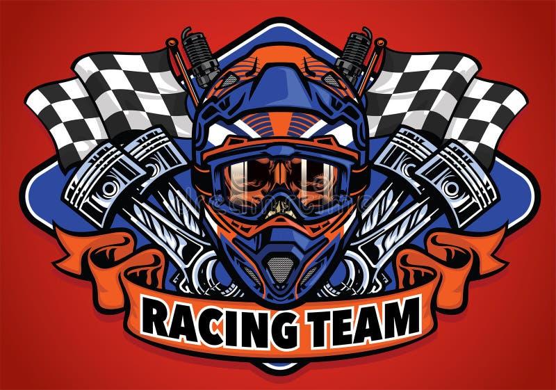 Skull wearing motocross helmet racing team. Vector of skull wearing motocross helmet racing team stock illustration