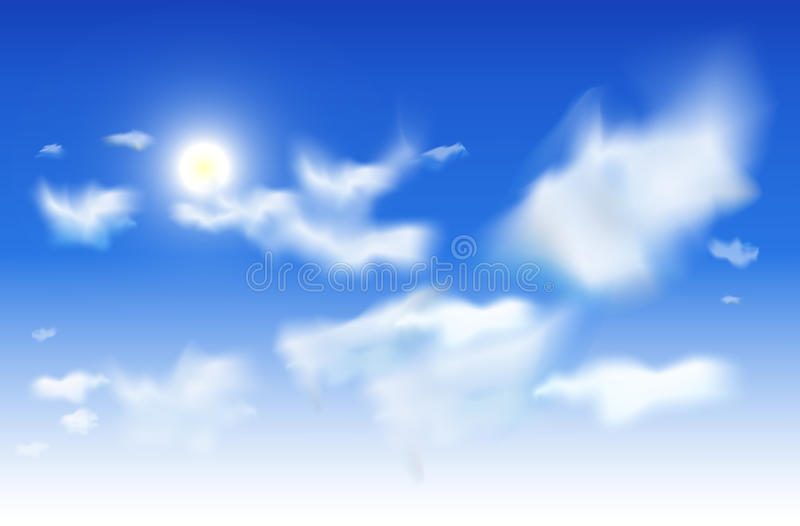 Vector sky background - White clouds and sun in a blue sky. White clouds and sun in a blue sky. Vector sky background EPS10. Blue top to fully white bottom vector illustration