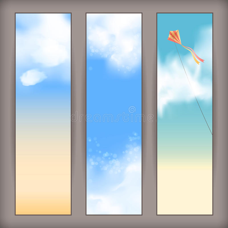 Vector sky banners with white clouds, flying kite royalty free illustration