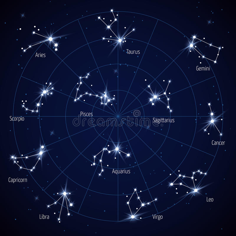 Vector sky star map with constellations stars vector illustration