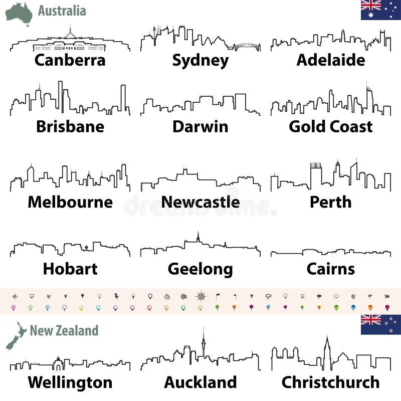 Vector Skyline Entwurfsikone sof Australien und Neuseeland-Städte vektor abbildung