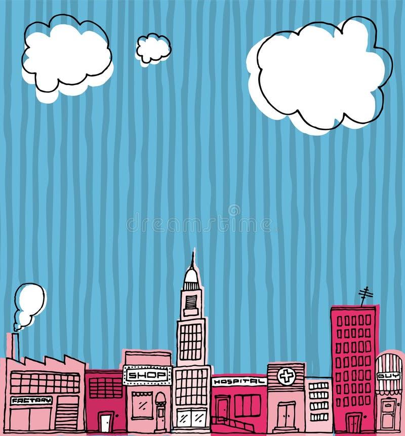 Vector Skyline Hand Drawn / Cartoon City Or Neighborhood Stock Images