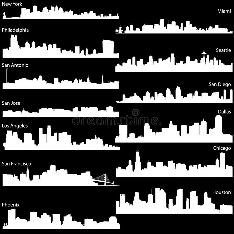 Vector skyline of USA biggest cities vector illustration