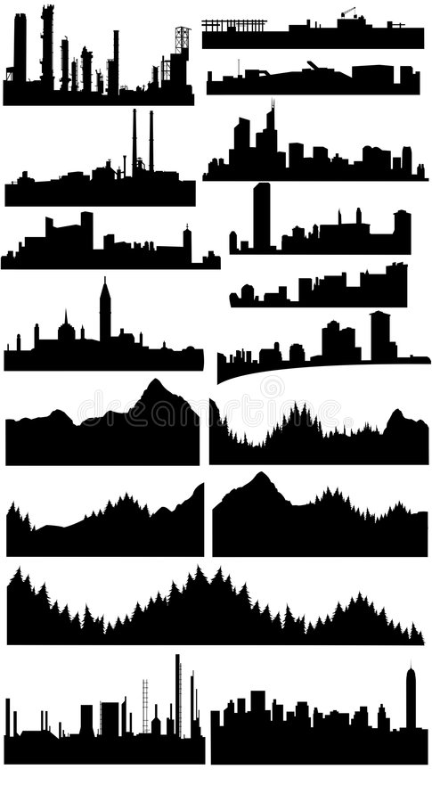 Vector skylines collection stock illustration