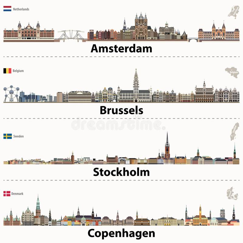Vector skylines da cidade de Amsterdão, de Bruxelas, de Éstocolmo e de Copenhaga ilustração stock