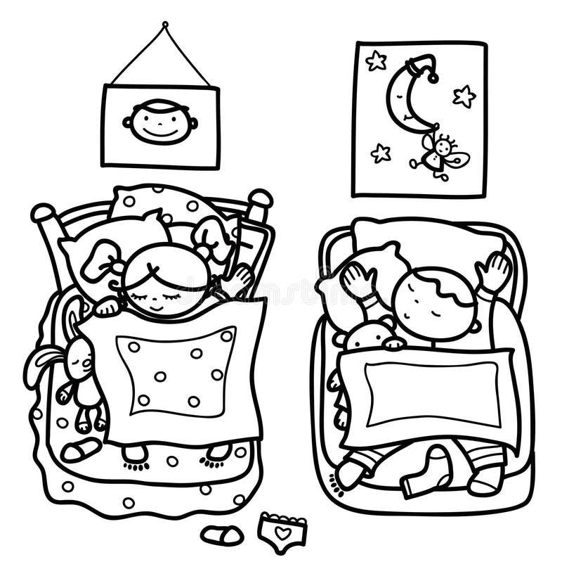 Vector Sleeping Cute Kids Stock Vector
