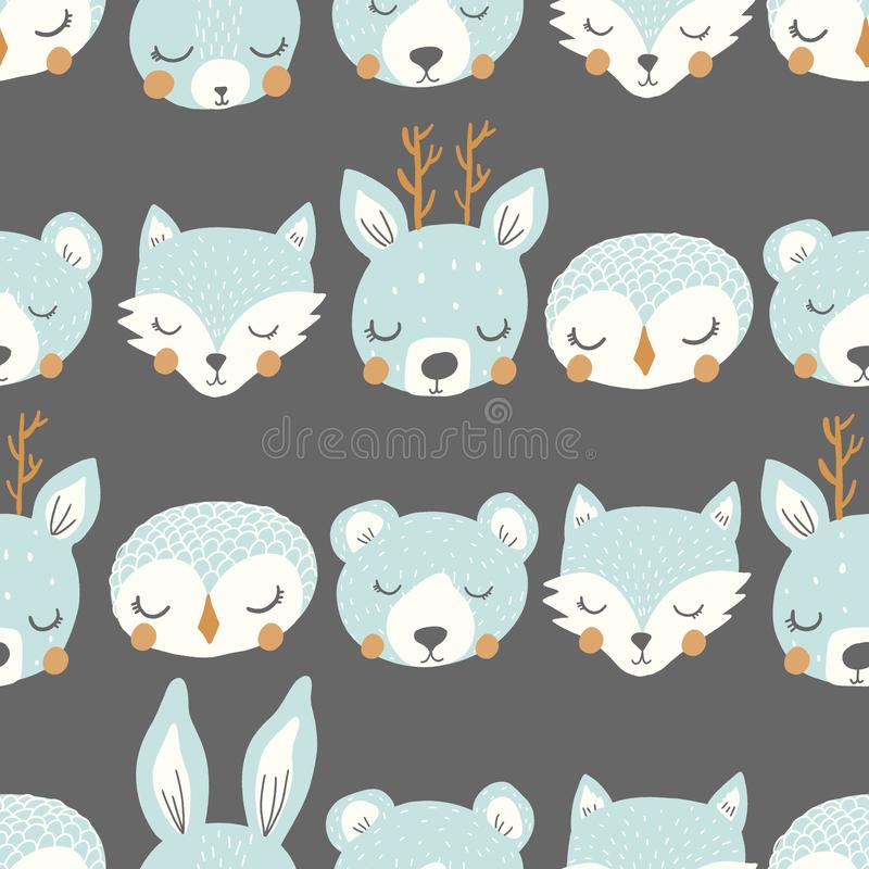 Vector sleepy animal stripe blue and gray repeat pattern background stock illustration