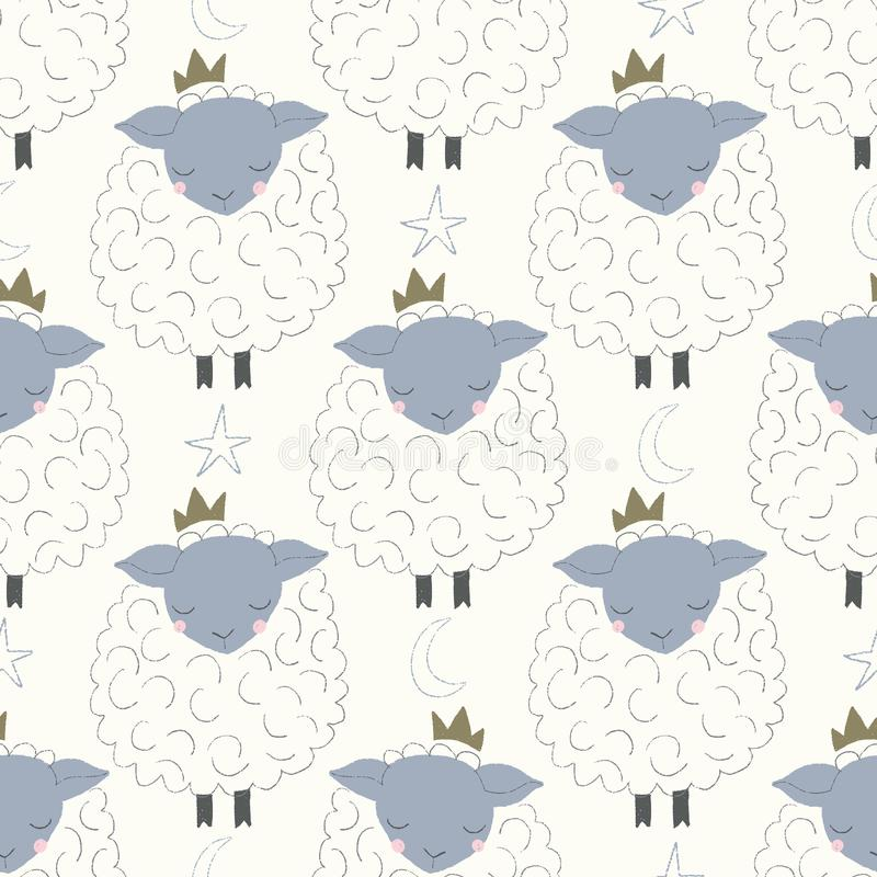 Vector sleepy sheep with crowns seamless repeat pattern royalty free illustration
