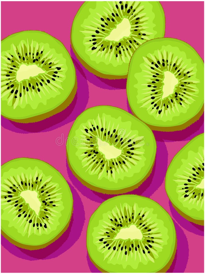 Vector slices of kiwi on magenta background royalty free illustration