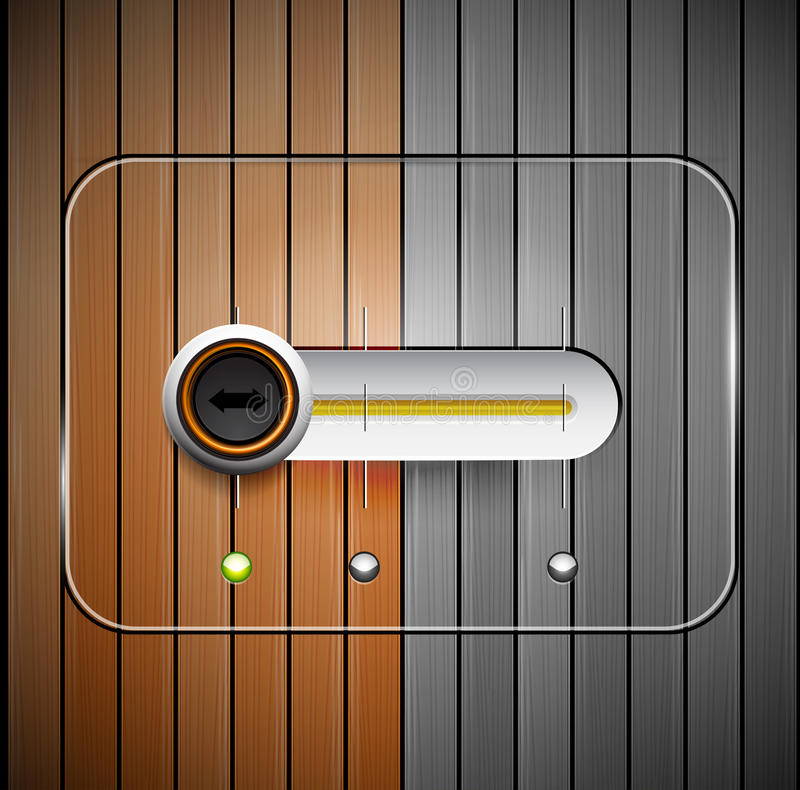 Vector slider. Techno vector slider design and wood texture royalty free illustration
