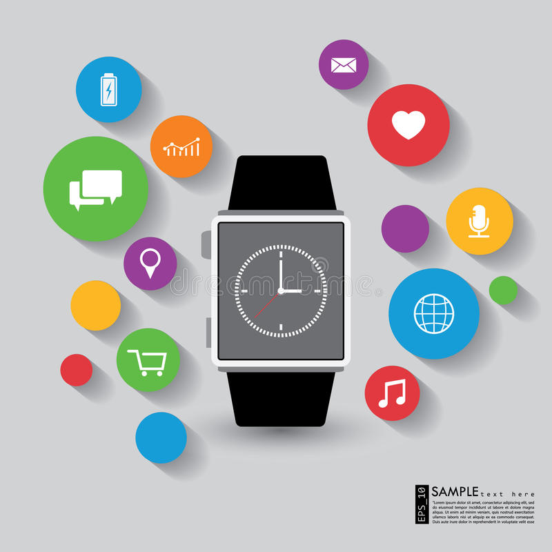 Vector slim horloge met apps en technologiefunctie royalty-vrije illustratie