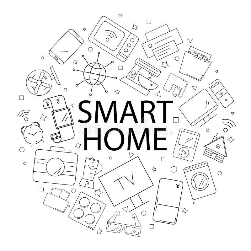 Vector Slim huispatroon met woord Slimme huisachtergrond royalty-vrije illustratie