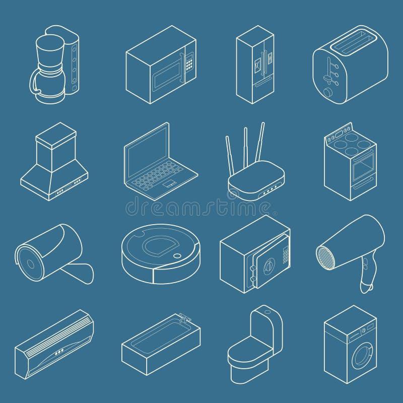 Vector slimme isometrische het pictogramreeks van de huis dunne lijn royalty-vrije illustratie