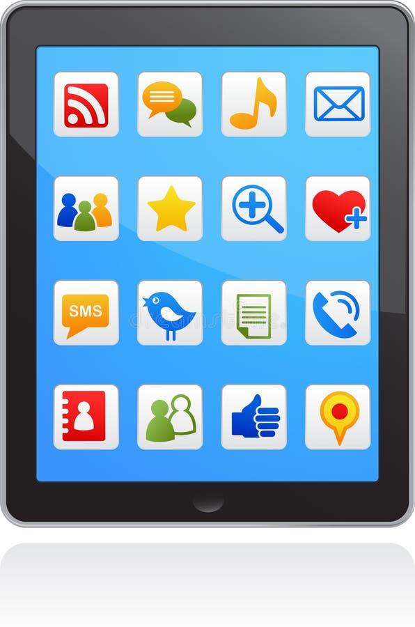 Vector slimme telefoon sociale media pictogrammen stock illustratie