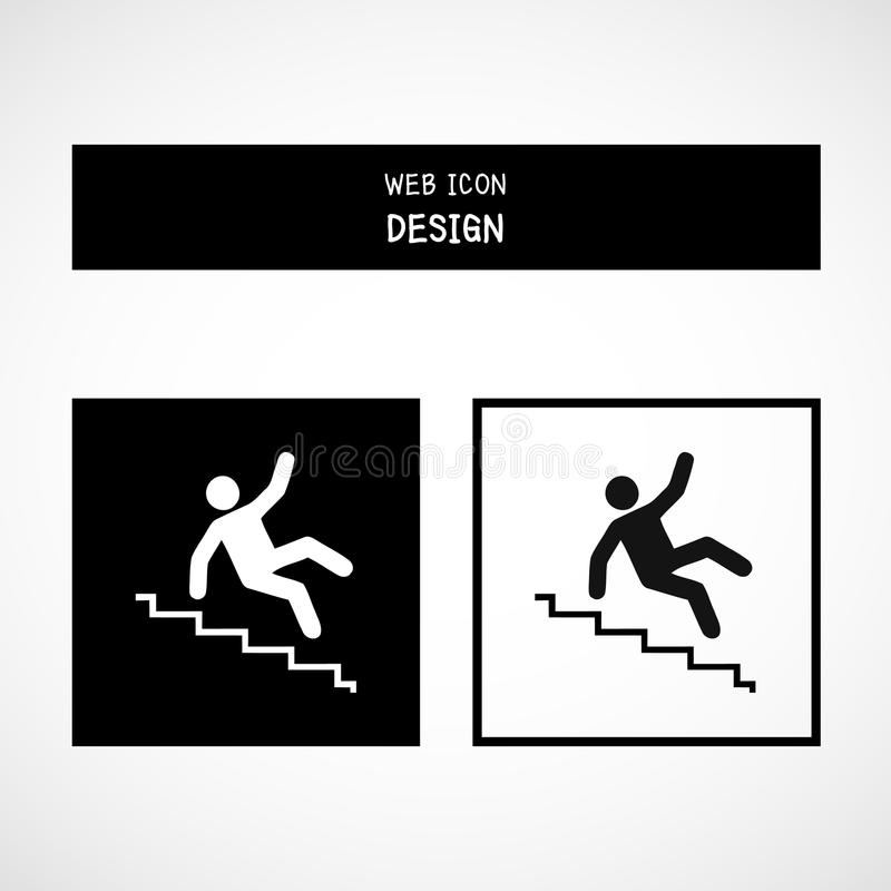 Download Vector Slippery Stairs Warning Sign Illustration Isolated On White  Background Stock Vector   Illustration Of