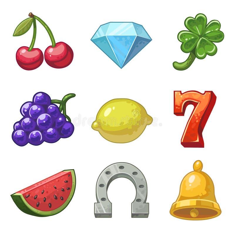 Vector slot machine icons vector illustration