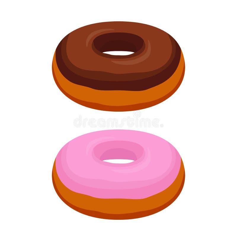Vector smakelijke donuts - chocolade, roze glans Gebakje, beeldverhaal vlakke stijl royalty-vrije illustratie