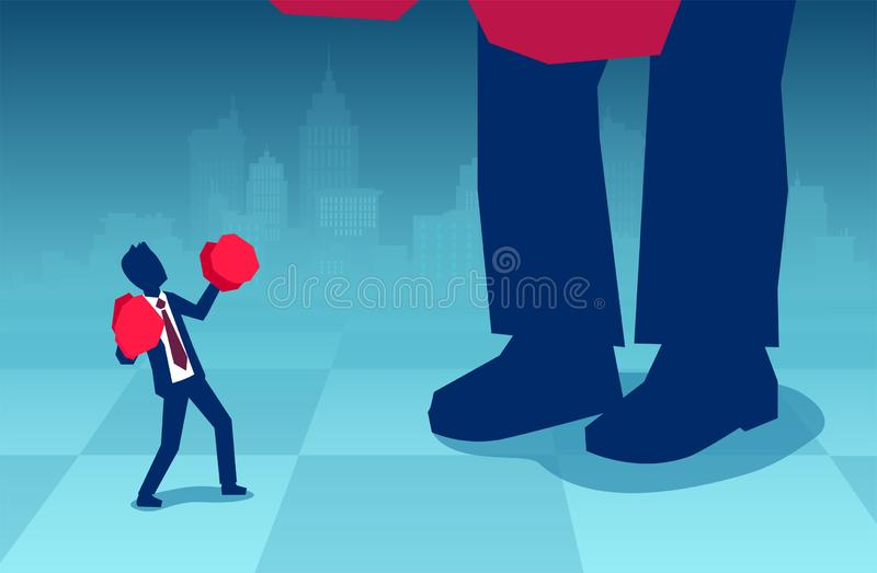 Vector of a small business man in boxing gloves fighting a big boss stock illustration