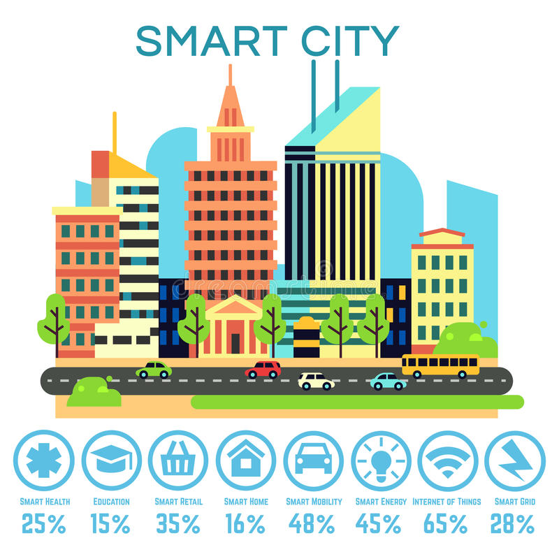 Vector smart city concept with business technology icons stock illustration