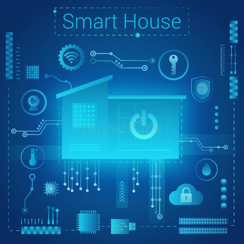 Smart home modern absract light style concept. Smart home in microchip pathways futuristic background. Internet of. Vector smart home concept. Smart home in royalty free illustration