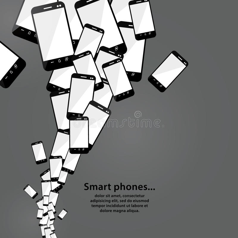 Vector smart phone flow. Modern technology. Heap of mobile phone. S. For electronics trade company. Big sale or giveaway. Sizable and editable. Electronics vector illustration