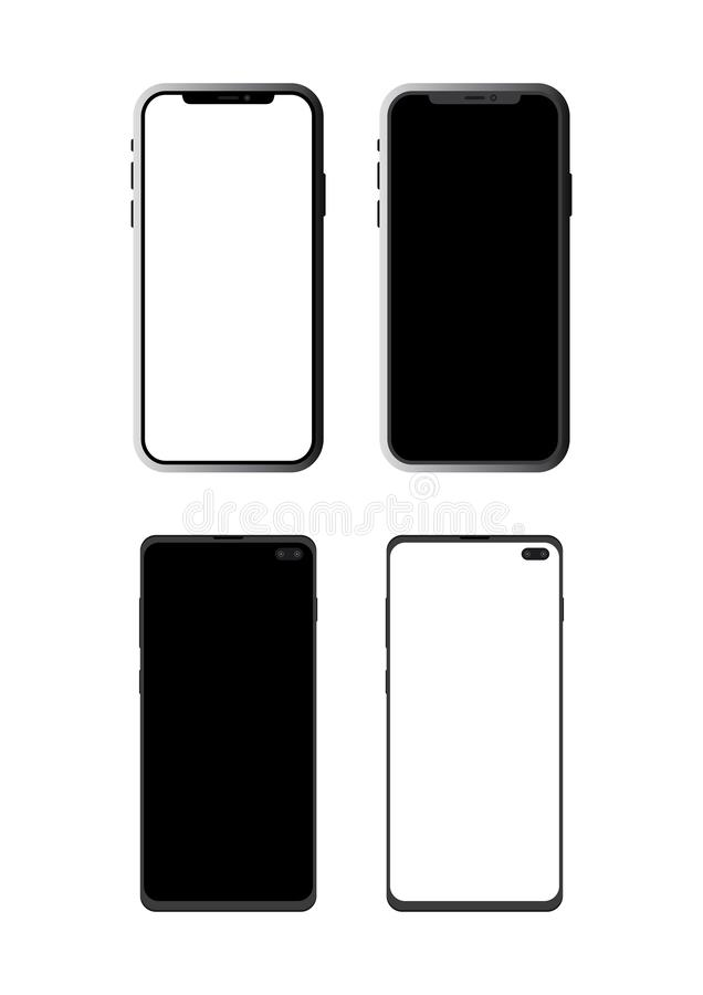 Vector smart phones. Isolated on white background. EPS10. stock photos