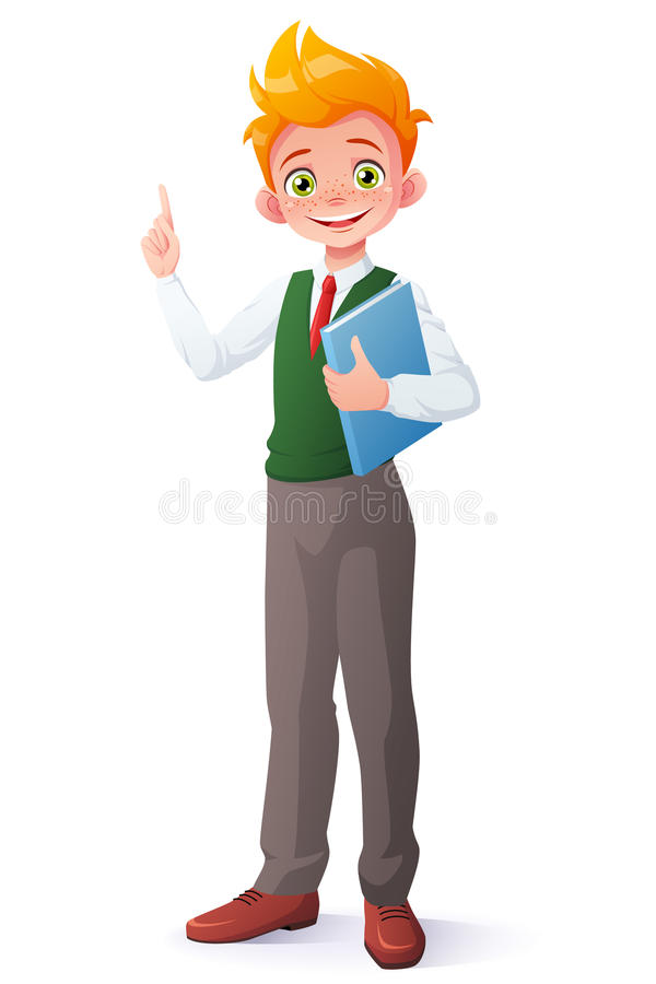 Vector smart school boy index finger pointing up with idea. royalty free illustration