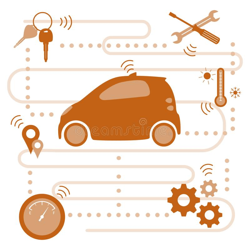 Smart driverless car New transport technologies. Vector. Smart self-driving car transfer of information about its condition: location, amount of fuel stock illustration