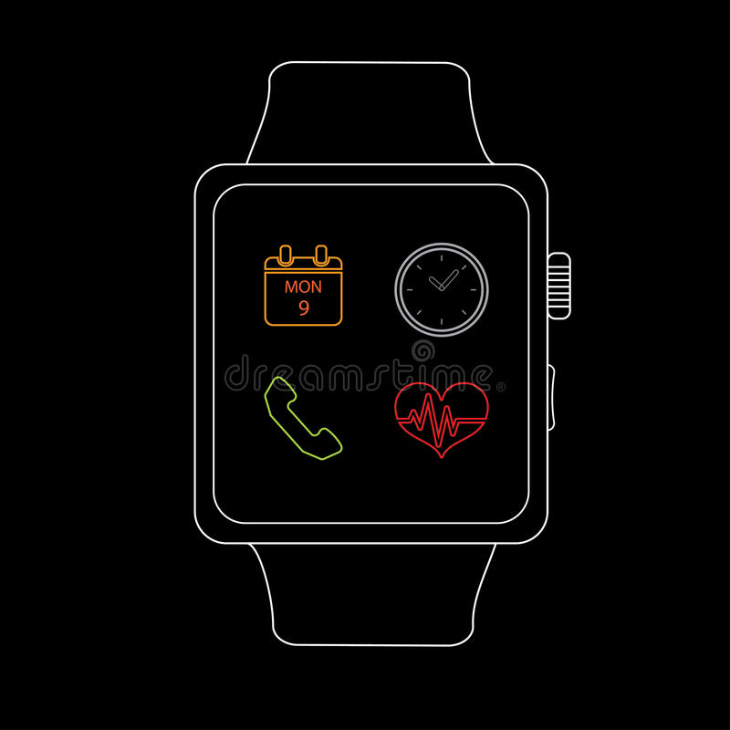 Vector : Smart watch with icon ,Line style stock illustration