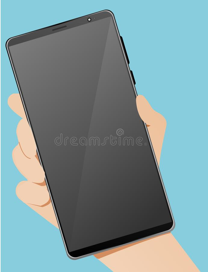 Vector for smartphone device in the right hand with blue background in vector format stock photography
